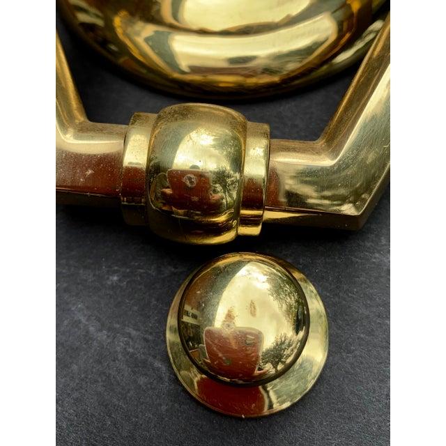 Italian Brass Hexagonal Ring Door Knocker For Sale - Image 10 of 11