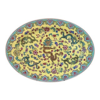 Chinese Famille Jaune Dragon Oval Platter For Sale