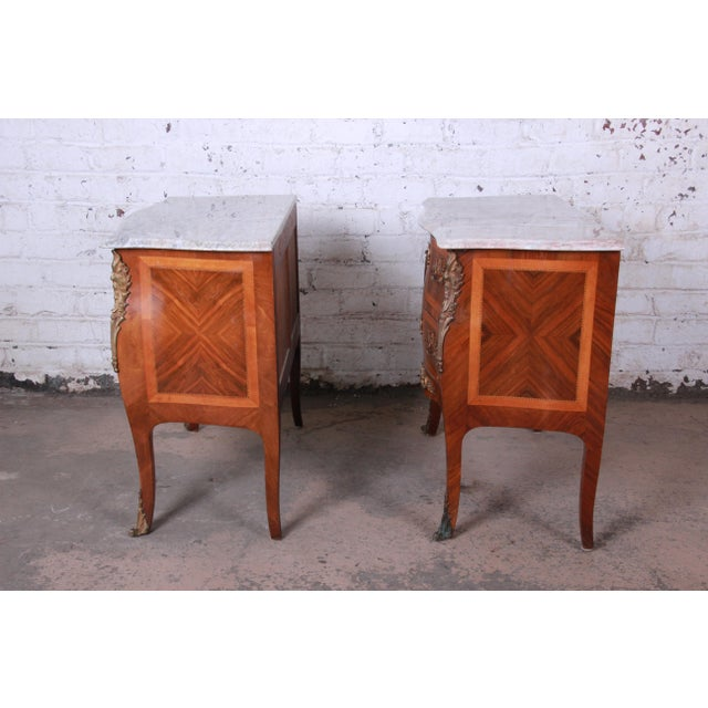 Louis XV Style Inlaid Mahogany Marble Top Nightstands or Commodes, Pair For Sale - Image 12 of 13