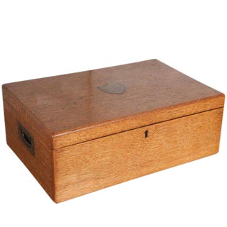 Large Oak Box with Brass Crest For Sale