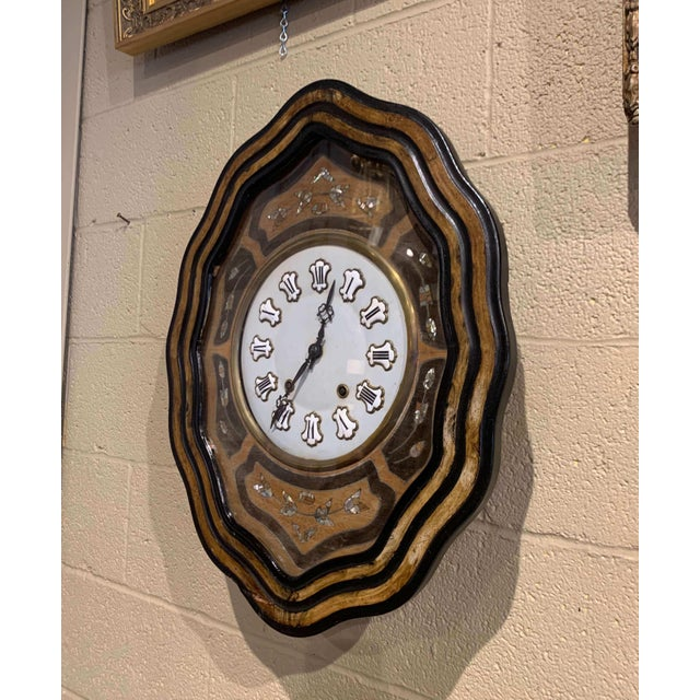19th Century French Napoleon III Mother of Pearl Inlay and Painted Wall Clock For Sale In Dallas - Image 6 of 12