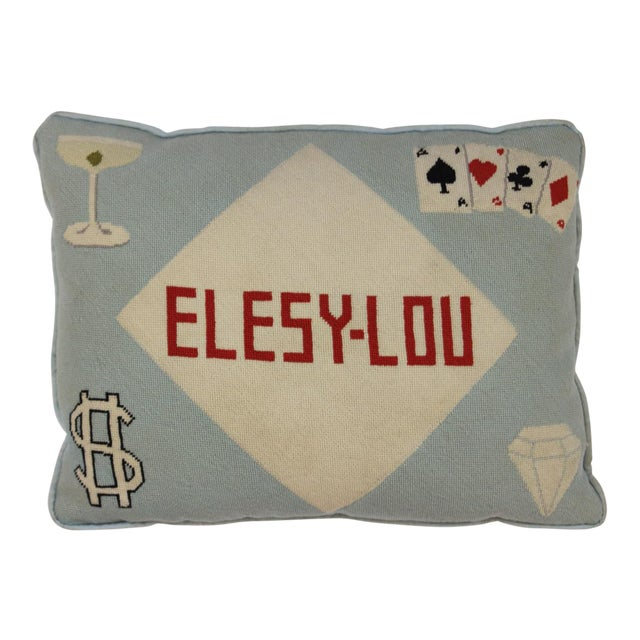 """Fab Tiffany Blue """"Playing Cards & Martini Glass"""" Petit-Needlepoint Pillow For Sale"""