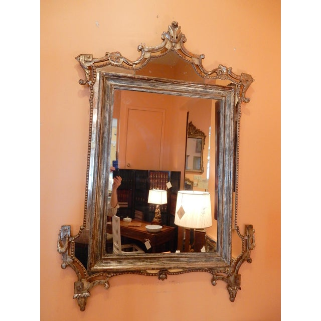 Gray Directoire' Worn Silver Gilt Mirror For Sale - Image 8 of 10