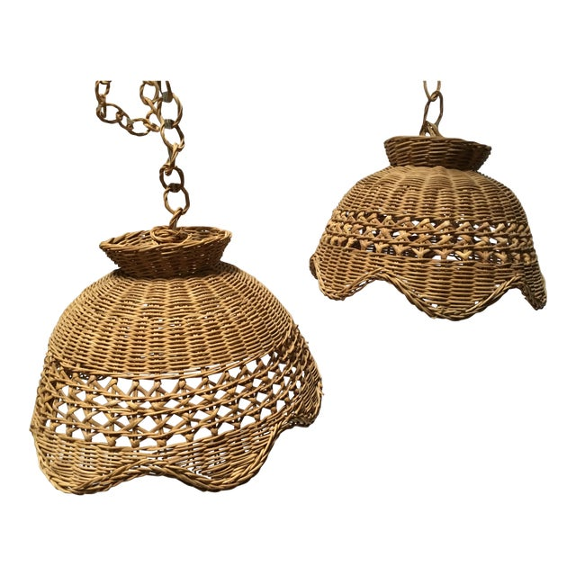 Vintage Wicker Pendant Lights - a Pair For Sale