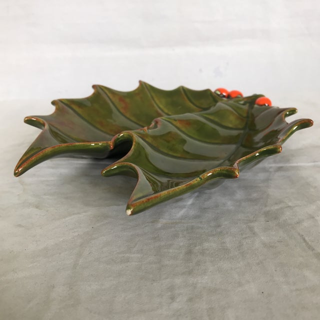 Vintage 1960's glazed ceramic holly leaf with double dish by Atlantic Mold as stamped on underside along with artist...