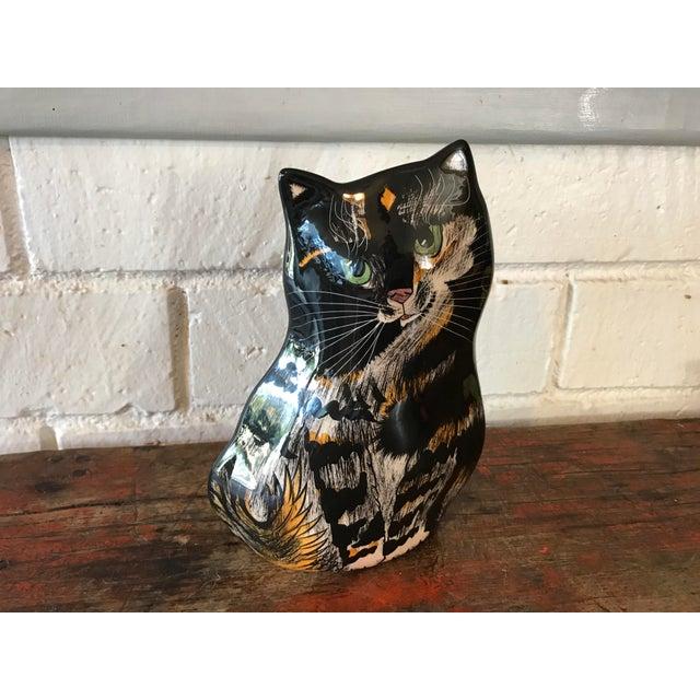 Cottage Nina Lyman Tortie Cat Vase For Sale - Image 3 of 8