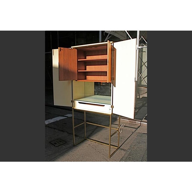 Gold Tommi Parzinger, Custom Hand-Painted Bar Cabinet, Usa, 1960s For Sale - Image 8 of 9