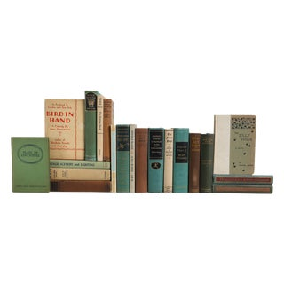 Vintage Drama Books in Green & Tan - Set of 20