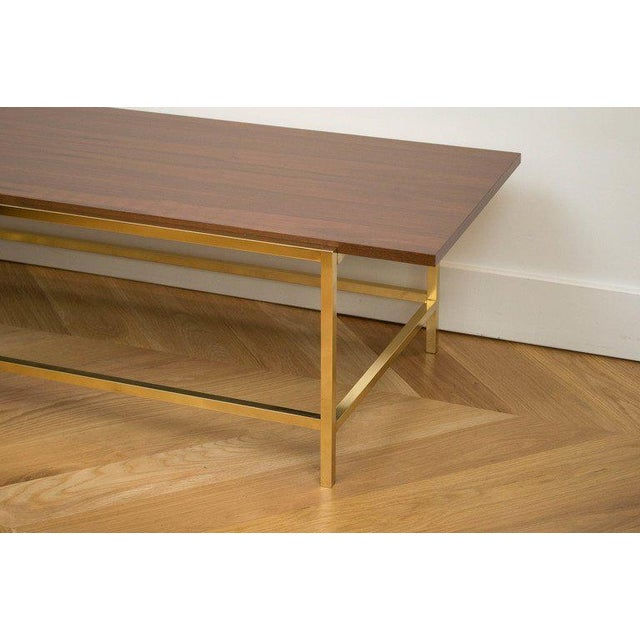 Brass and Walnut Cocktail Table - Image 2 of 7