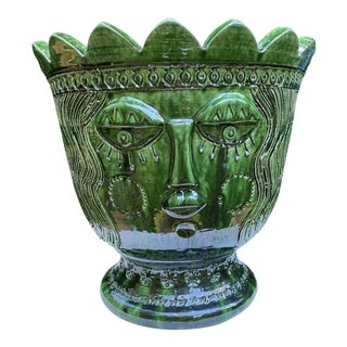 French Anduze Urn Planter With Face Design Signed For Sale