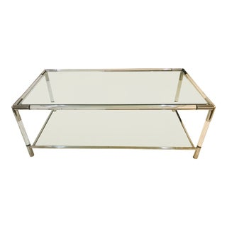 French Modern Stainless Steel, Lucite and Glass Coffee Table, 2-Tier, Rectangular For Sale