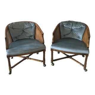 Vintage Drexel Heritage Rolling Cane Barrel Chairs - a Pair For Sale