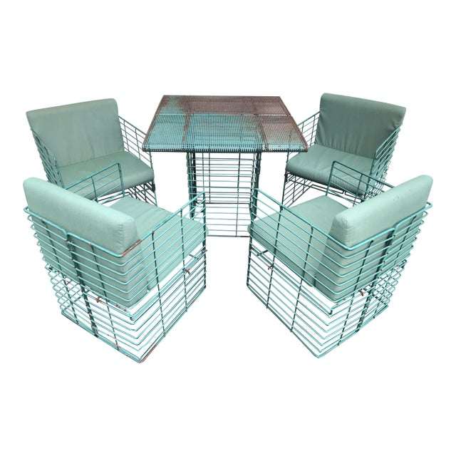 Rare Josef Hoffmann Style Curvilinear Perforated Outdoor Dining Set - 5 Pieces For Sale