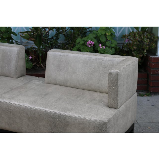 Modern Contemporary Leather Love Seat For Sale In Los Angeles - Image 6 of 11