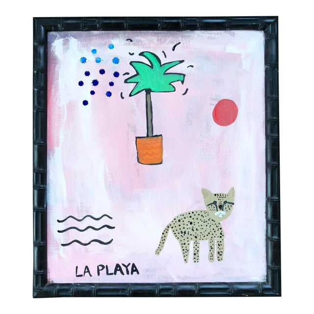 Original Pink and Orange Jungle Painting in Bamboo Frame For Sale