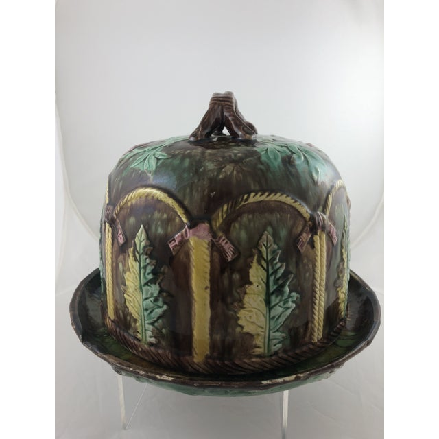 Late 20th Century Majolica Leaf Cheese Dome For Sale - Image 5 of 7