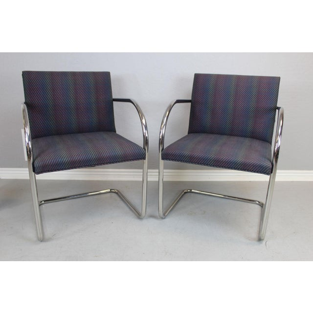 "Designed by Ludwig Mies van der Rohe, ""Brno"" chairs are chrome/tubular in style and manufactured by Knoll International..."