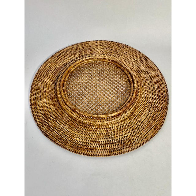 """Wicker Vintage Extre-Large 18"""" Open Weave Wicker Chargers, Set of 8 For Sale - Image 7 of 8"""