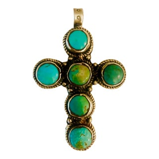 1930s Navajo Cerillos Turquoise and Silver Old Pawn Cross Pendant For Sale