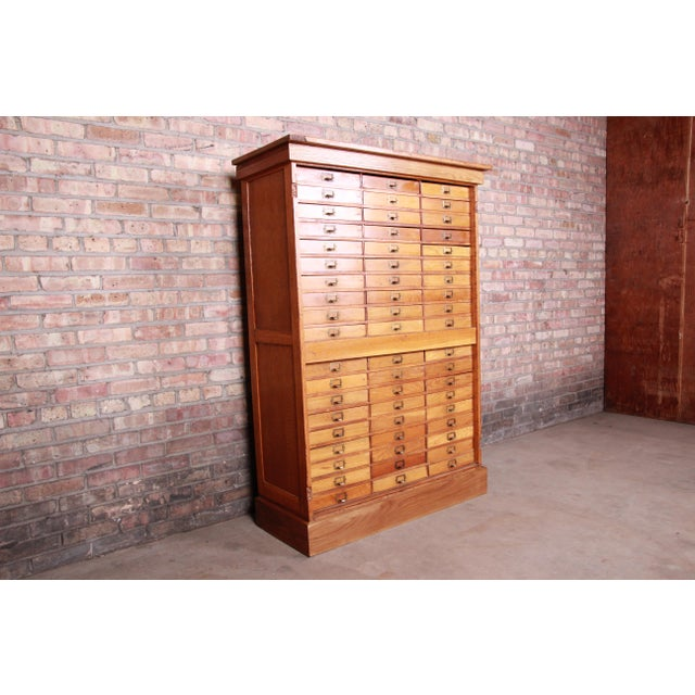Antique Oak 57-Drawer Cabinet, Circa 1920s For Sale - Image 4 of 13