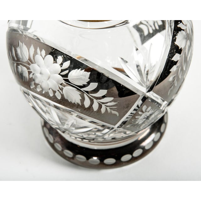 Pair of Etched Crystal Decanter For Sale - Image 4 of 6