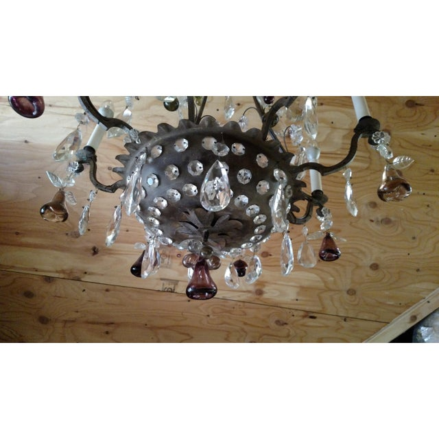 1840s Antique Iron Baguès French Cut Glass Dangles Chandelier For Sale - Image 11 of 13