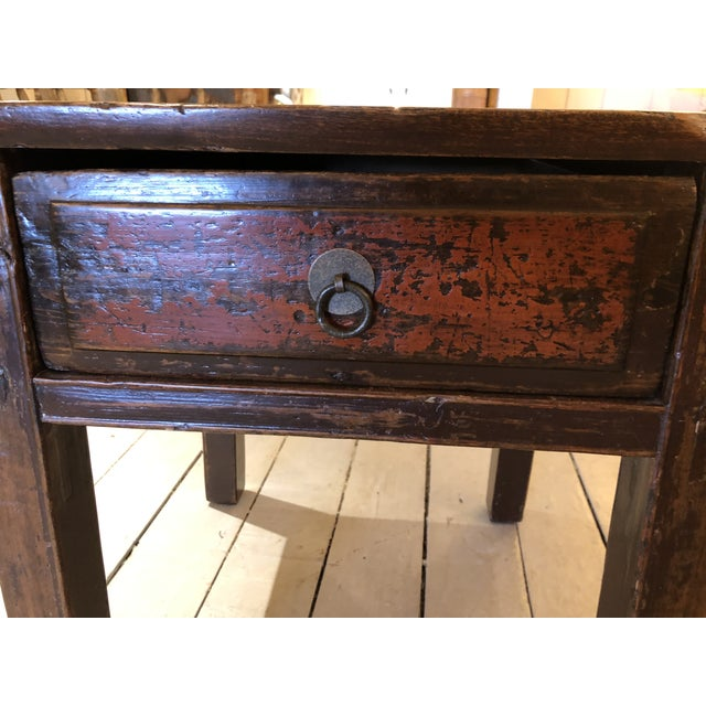 Chinese Antique Chinese Rustic Wood End Table With Single Drawer For Sale - Image 3 of 12