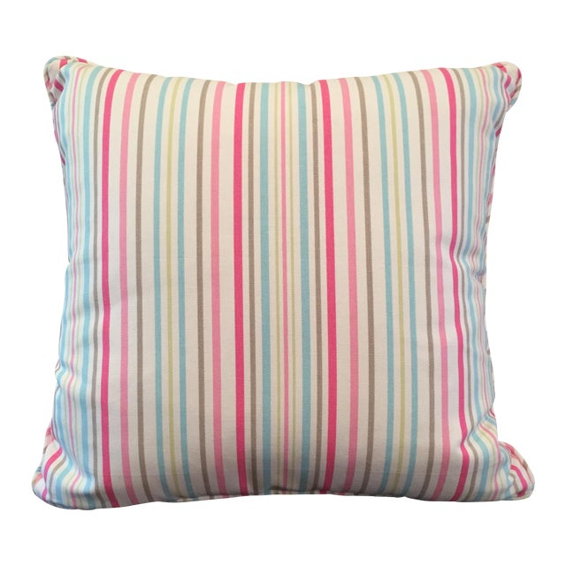 Pink, Blue & Green Throw Pillow - Image 1 of 4