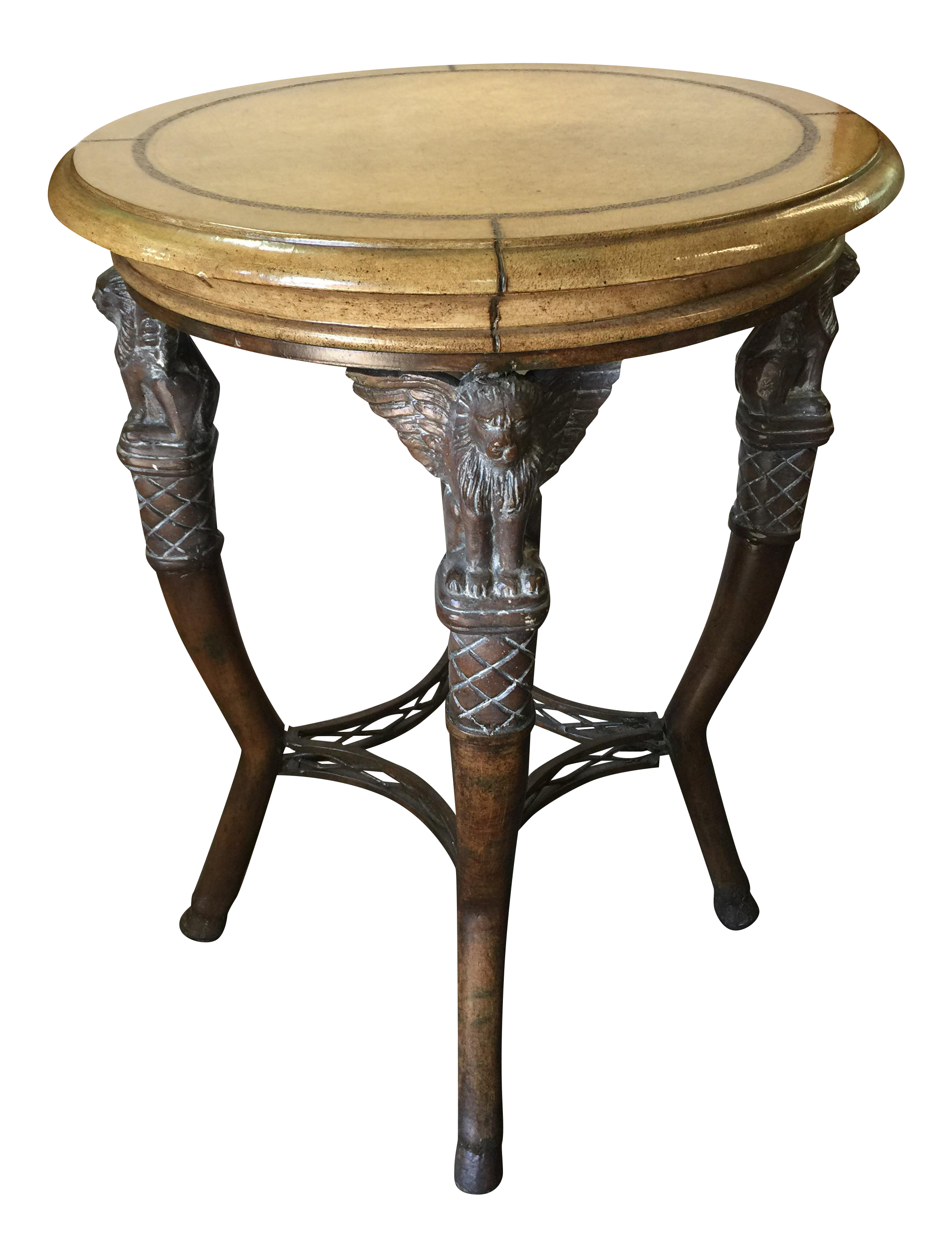 Egyptian Revival Round Table With Leather Top
