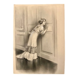 1900s Antique French Mixed-Media Grisaille Illustration of a Woman After Charles Atamian For Sale