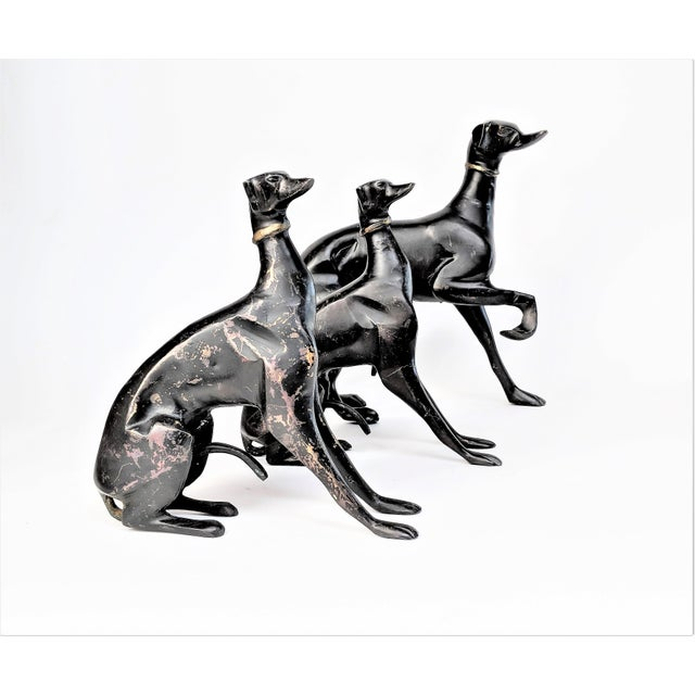 Gold Bronze Greyhound Dog Statues - Set of 3 For Sale - Image 8 of 11
