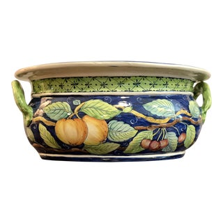 Large Italian Majolica Fruit Motif Oblong Centerpiece Cachepot For Sale