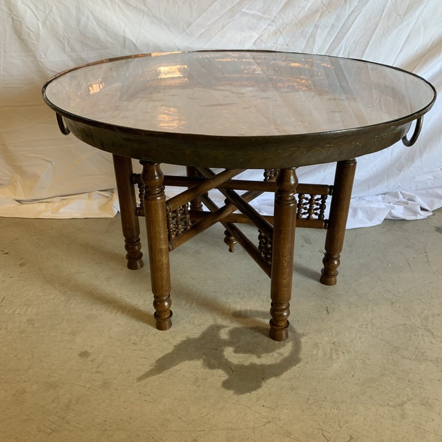 Heavy Copper Glass Moroccan Tray Table For Sale - Image 12 of 12