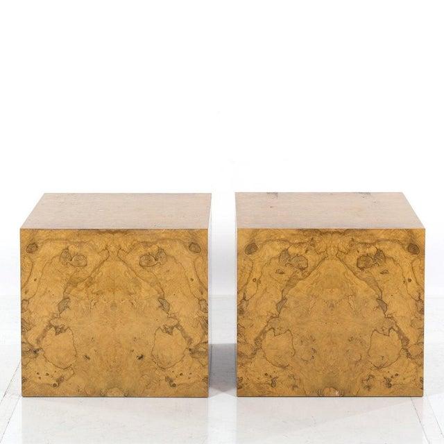 Pair Milo Baughman for Thayer Coggin Burl Wood Cube Side Tables.