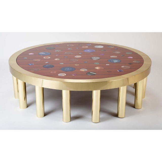 Hollywood Regency Large Agate Inlaid Sapelle and Brass Coffee Table For Sale - Image 3 of 12