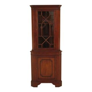 1980s Traditional Henkel Harris Narrow Mahogany Corner Cabinet For Sale