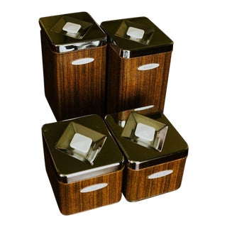 Vintage Mid-Century Masterware Canette Metal Canisters - Set of 4 For Sale