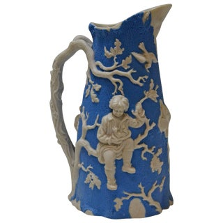 Blue and White Parian Ware Pitcher, Circa 1850 For Sale