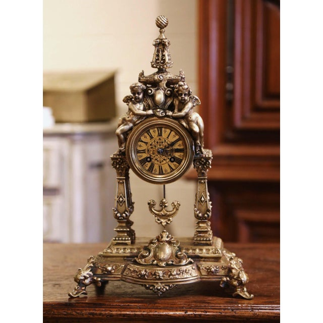 19th Century French Louis XV Rococo Gilt Bronze Mantel Clock With Cherubs For Sale - Image 13 of 13