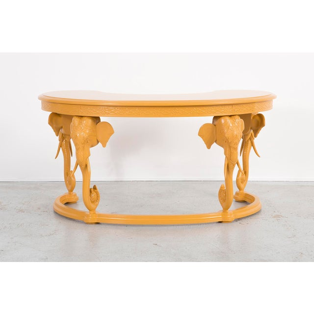"""A desk manufactured by Gampel-Stoll in Italy, c 1970s. This piece features lacquered wood. 29 ¾"""" h x 59 ¾"""" w x 34"""" d"""