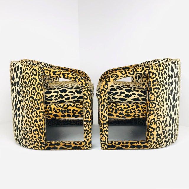 Mid-Century Modern Pair of Custom Barrel-Back Armchairs in Leopard Velvet For Sale - Image 3 of 12