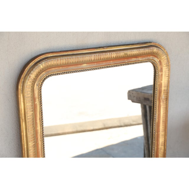 French 19th Century French Louis Philippe Beaded Gilt Frame Mirror For Sale - Image 3 of 11