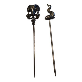 Silverplate French Brochettes Skewers - a Pair For Sale