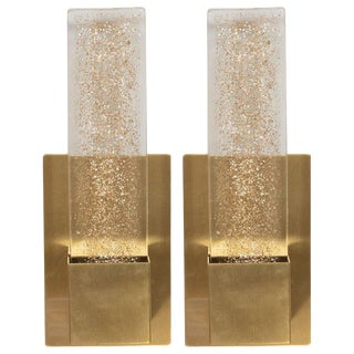 Handblown Murano Glass & Brushed Brass Sconces With 24-Karat Gold Flecks - a Pair For Sale