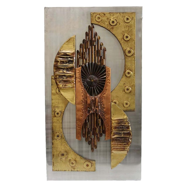 1970s Brutalist Mixed Metal Wall Art Sculpture - Image 1 of 10