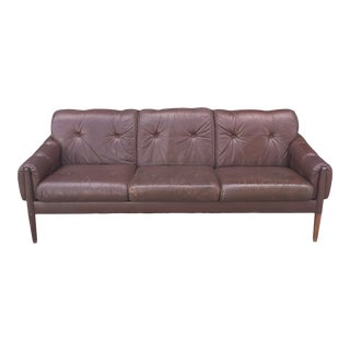 Danish Modern Leather and Rosewood Three Seater Sofa For Sale