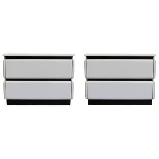 Rougier White Lacquered Nightstands - a Pair