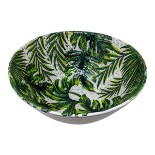 Tropical Forest and Lime Green Palm Leaf Oversized Decorative Statement Bowl For Sale