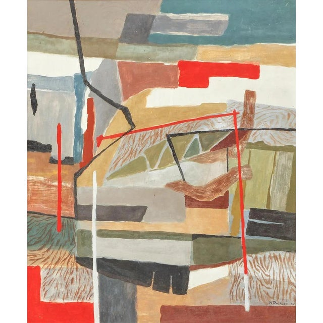 1950's Fine and sophisticated oil on masonite by Rosfeld, Norman (American/ PA, d.2020), signed and dated 'Fields'...