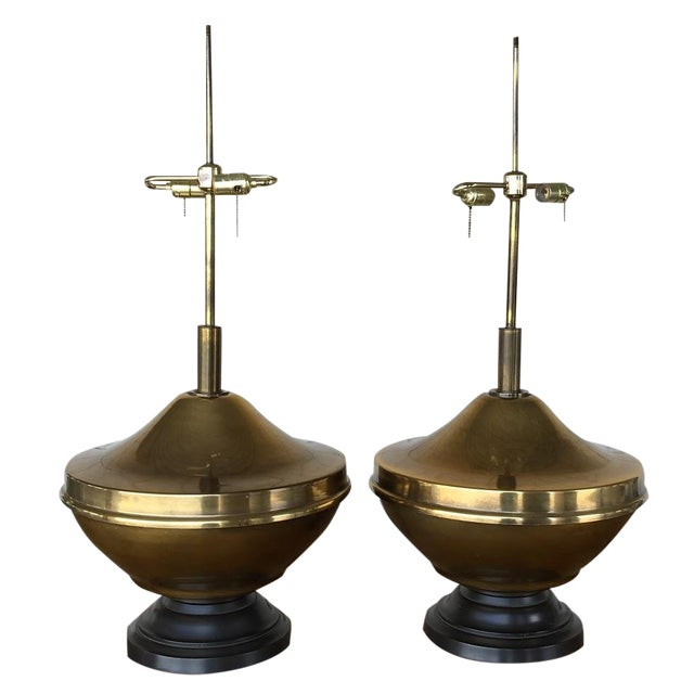 Vintage Brass Oversized Lamps - Pair For Sale